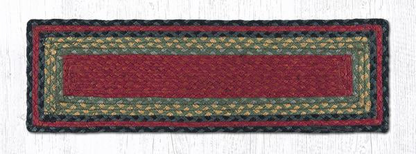 "Capitol Earth Rugs Braided Jute Stair Tread, 8.5"" x 27"" Rectangle, Burgundy/Olive/Charcoal"