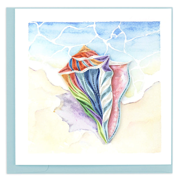 Rainbow Conch Shell Quilling Card