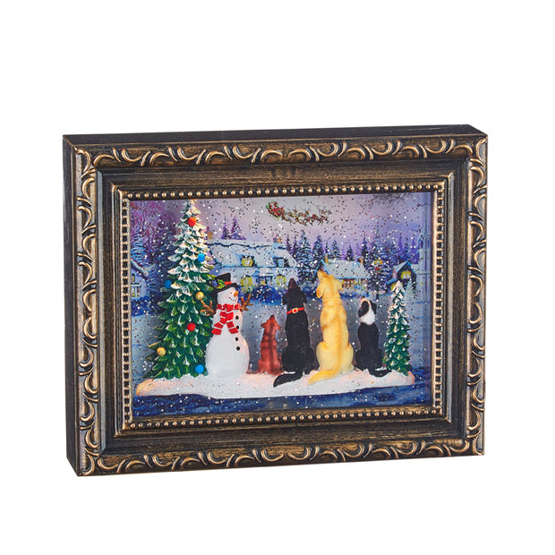 Dogs Watching Santa in Lighted Water Picture Frame
