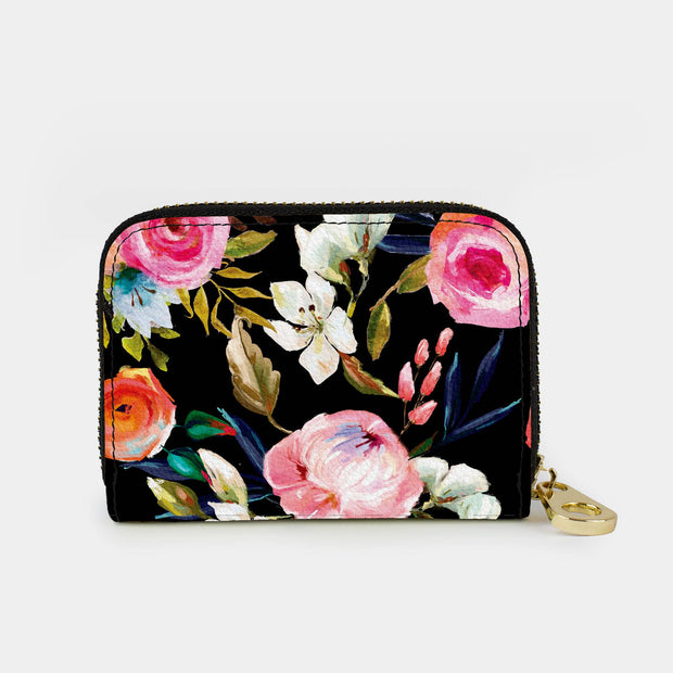 Florals on Black Zippered Wallet