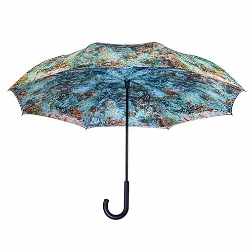 "Monet, ""The House at Giverny Viewed From Rose Garden"" Reverse Close Umbrella"