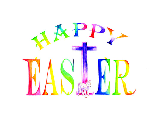 Happy Easter Cross Garden Sign