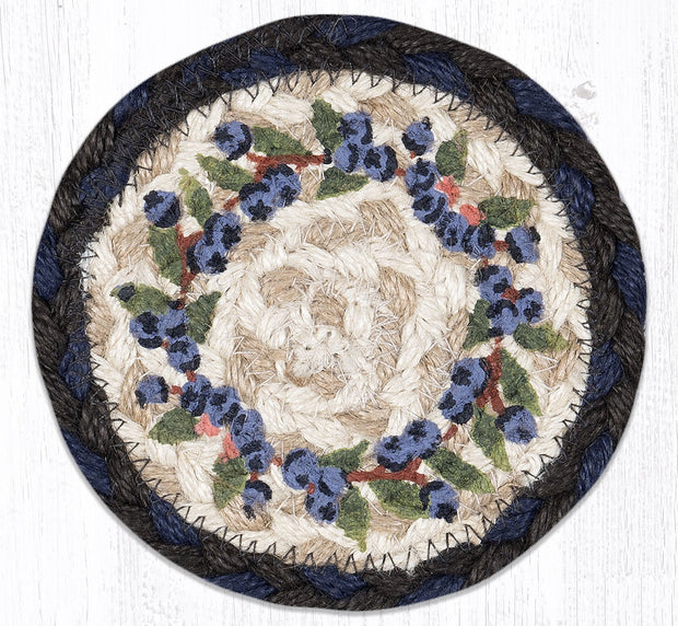 "Capitol Earth Rugs Individual Printed Braided Jute 5"" Coaster, Blueberry Vine"