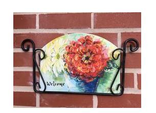 Wrought Iron Wall Mount Garden Sign Holder