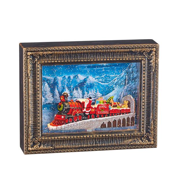 Santa Express Train Lighted Water Picture Frame