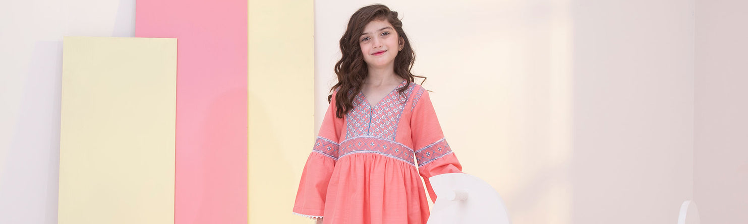 Eid Ramadan Printed and embroidered kurtas for girls in Sapphire's new kids eastern collection.