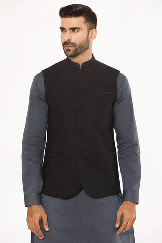 Embroidered Black Waistcoat