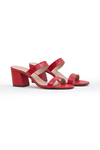 Red Patent Block Heel