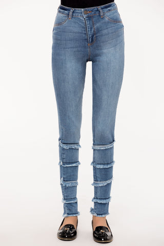 Blue Ruffled Slim Jeans