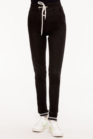 Drawstring Black Slim Jeans