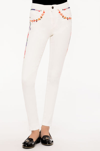 Floral White Slimfit Jeans