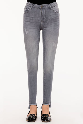 Cut Off Grey Skinny Jeans