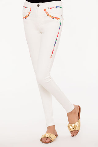 Floral White Skinny Jeans