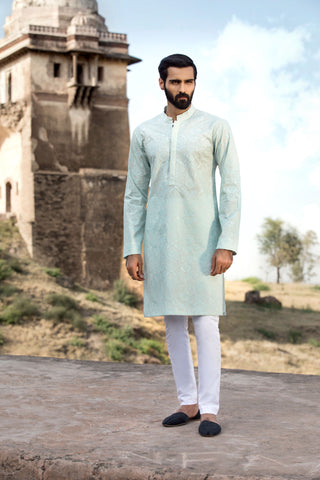 Embroidered Aqua Kurta