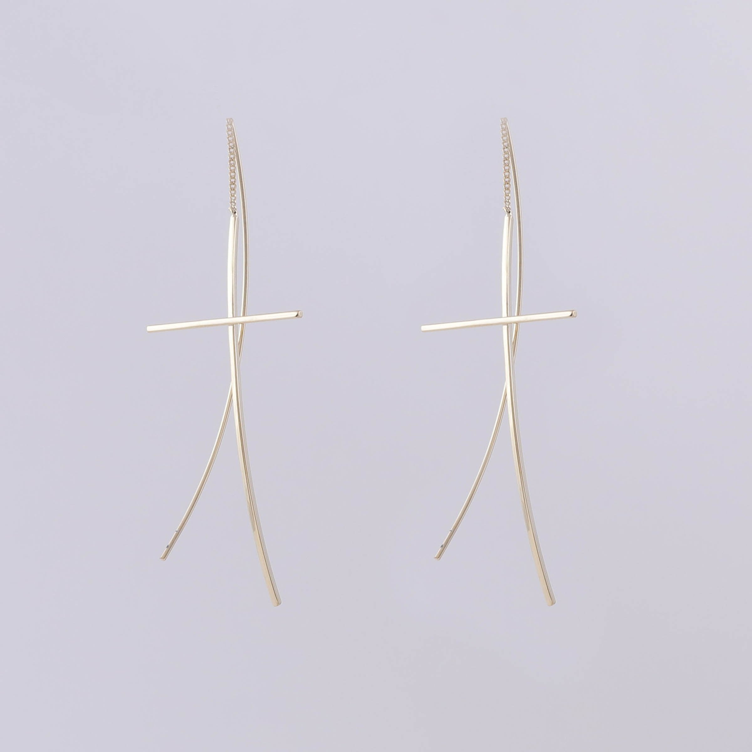 statement minimal hoop jewelry earring lunar earrings web gold mounser asymmetric page luxury products plated