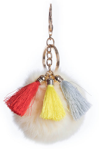 Fur and Tassel Key Chain