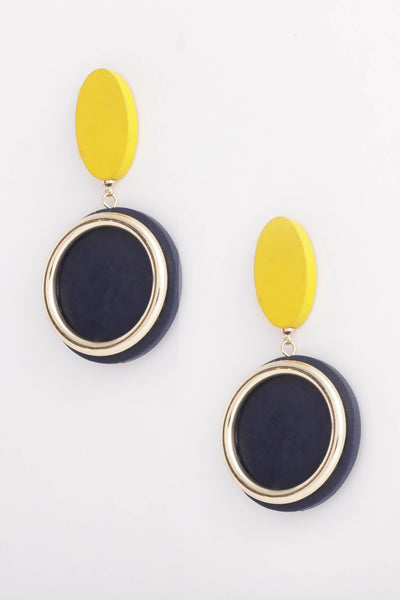 Blue Yellow Earrings