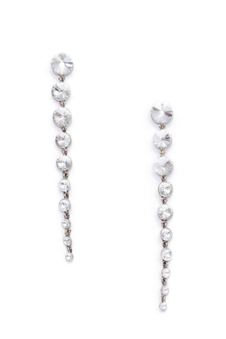 Silver Studded Drop Earrings