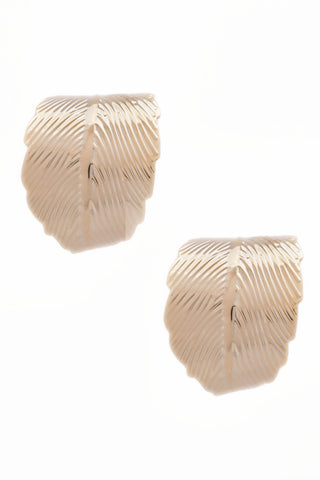 Gold Bend Leaf Earrings