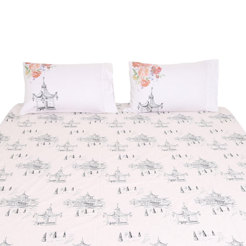 Bed Sheet Vintage Pagodas