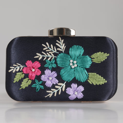 Navy Bouquet Clutch