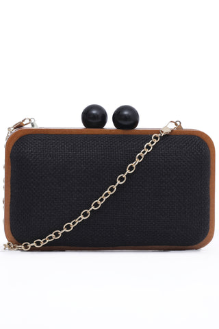 Black Textured Hard Clutch
