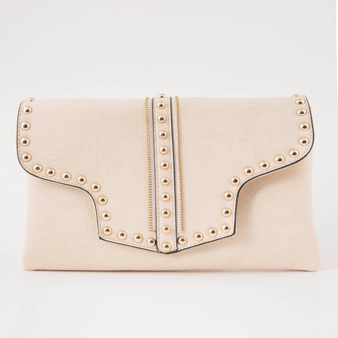 Beige Zip Clutch