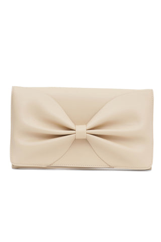 Beige Bow Soft Clutch