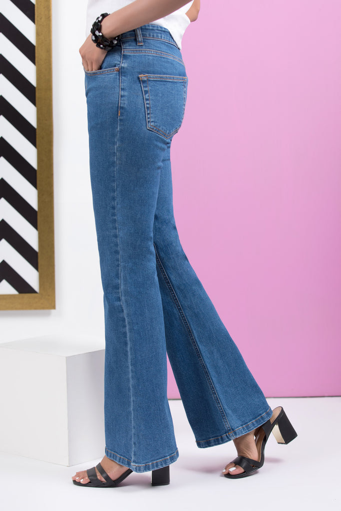 Blue Boot-cut Pants