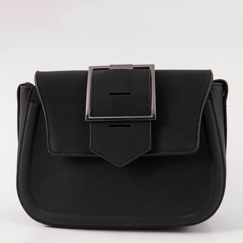 Black Buckle-Flap Tote
