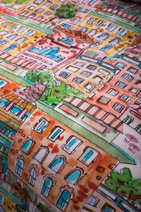 City Life Doodling Quilt Cover
