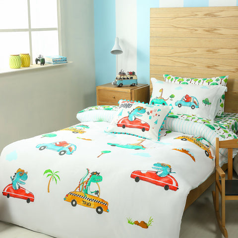 Dino Cars Bed Sheet