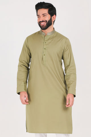 Olive Drab Kurta - Regular Fit
