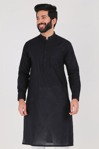 Jet Black Kurta - Regular Fit
