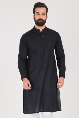 Jet Black Kurta - Slim Fit
