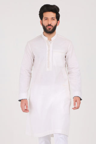 Pure White Cotton Linen Kurta - REGULAR FIT