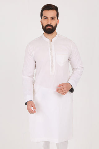 Pure White Cotton Linen Kurta - SLIM FIT