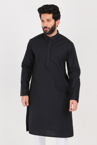 Black Poplin Kurta - REGULAR FIT