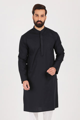 Black Poplin Kurta - SLIM FIT