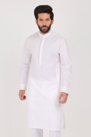 Pure White Poplin Kurta - REGULAR FIT