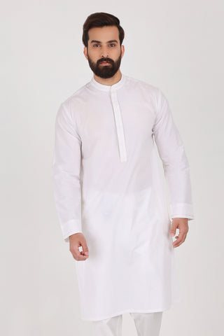 Pure White Poplin Kurta - SLIM FIT