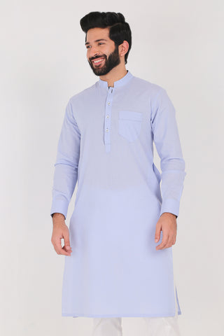 Cashmere Blue Kurta - Regular Fit
