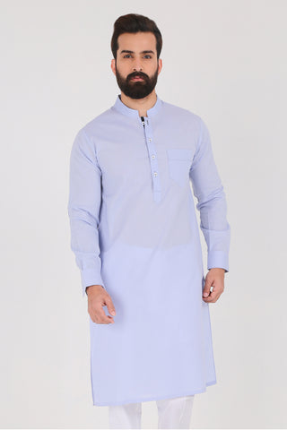 Cashmere Blue Kurta - Slim Fit