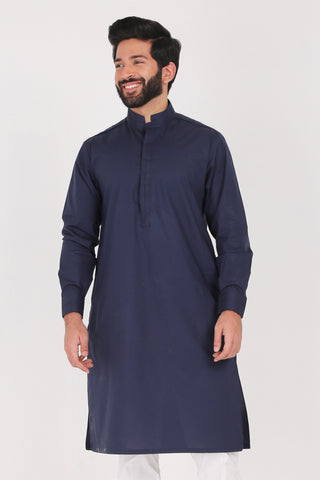 Navy Kurta - Regular Fit
