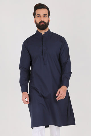 Navy Kurta - Slim Fit