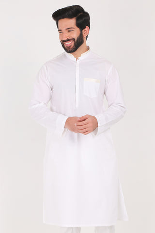 White Kurta - Regular Fit