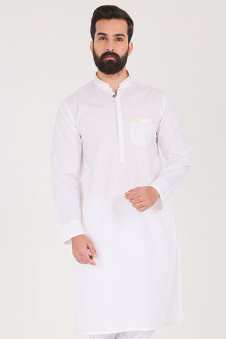 White Kurta - Slim Fit