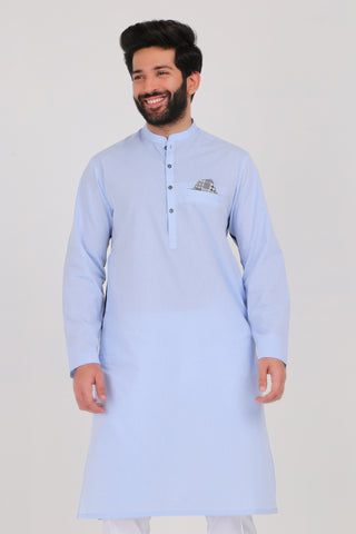 Light Blue Dobby Kurta - REGULAR FIT