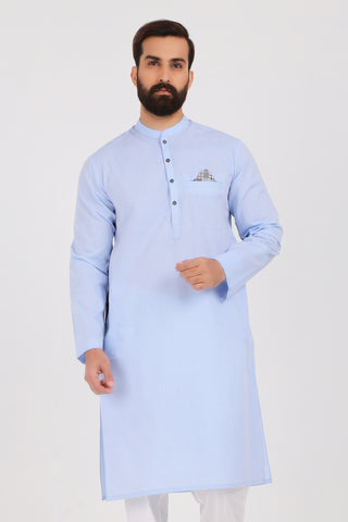 Light Blue Dobby Kurta - SLIM FIT