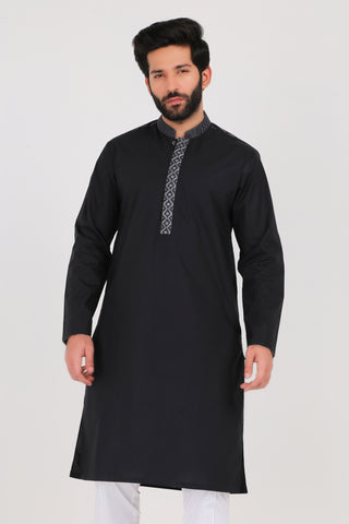 Jet Black Poplin Kurta - REGULAR FIT